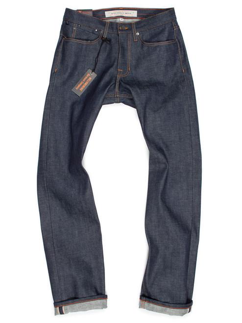 Men's straight-leg custom jeans, American made selvedge raw denim.