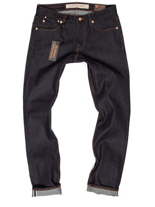 Custom made jeans in 12.25-oz. Japanese Selvedge. The fabric is stretch 98% Cotton 2% Spandex.