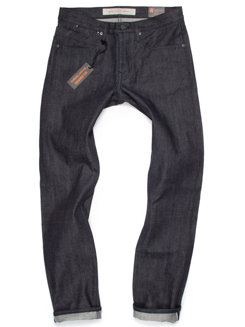 13-oz. Japanese Selvedge dark indigo with black top stitching raw denim American made jeans.
