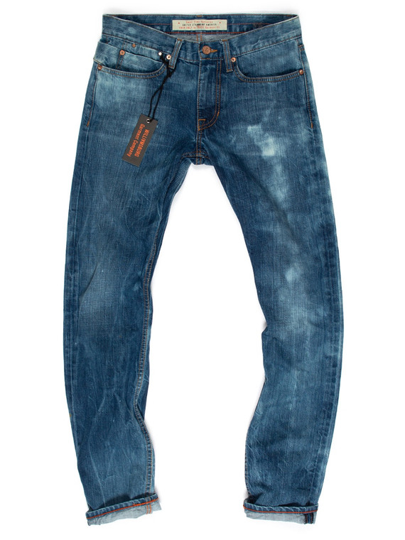 Uniquely bleach washed one-of-a-kind men's jeans #1 in slim Grand Street fit, made in the USA of Cone American made denim.