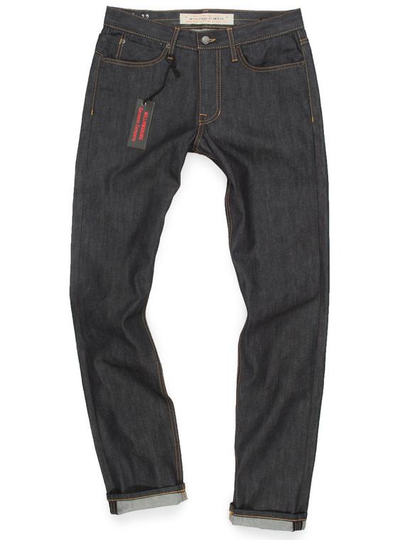 Grand Street men's standard slim fit raw denim jeans made in the USA.