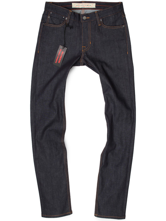 Men's custom made skinny jeans with stretch, handmade in American made denim and Japanese twills.