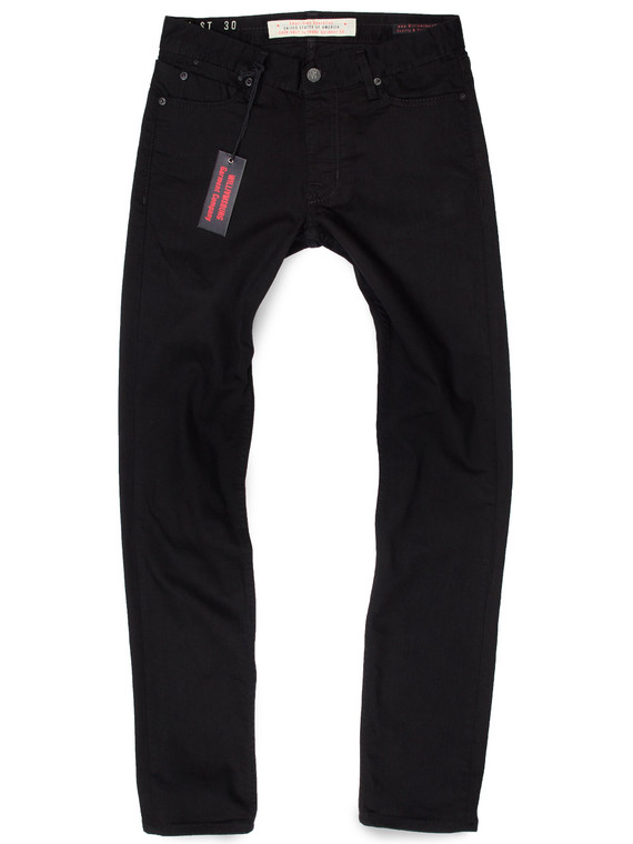 Mens black skinny jeans made in USA with stretch.