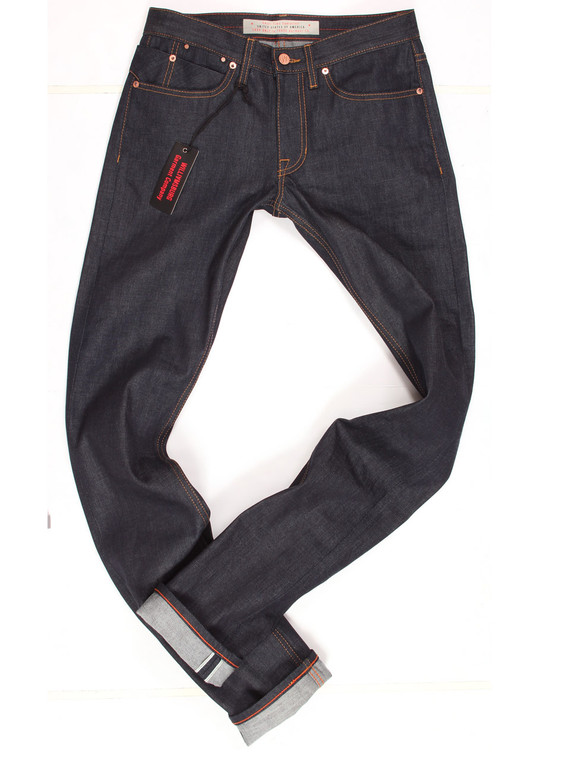 Tall men's selvedge raw denim jeans with extra long 38 inch inseam, made in USA.
