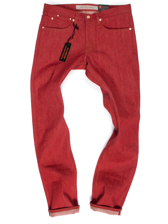 Men's slim fit red selvedge denim jeans made in the USA by Williamsburg Garment Co.