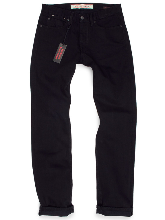 Men's Jet Black Straight Jeans for in Cone White Oak denim. American made jeans with modern relaxed fit.