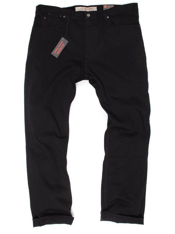 Jet black big and tall straight fit jeans made in USA for big guys.