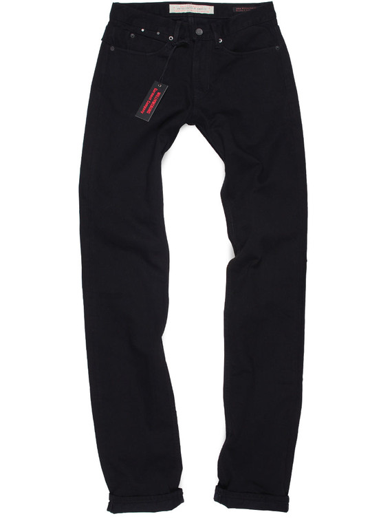 Tall men's black straight leg jeans with long 40 inch inseam.