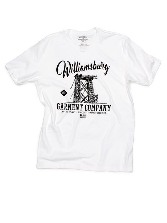 White Williamsburg bridge logo t-shirt with soft water-base print.