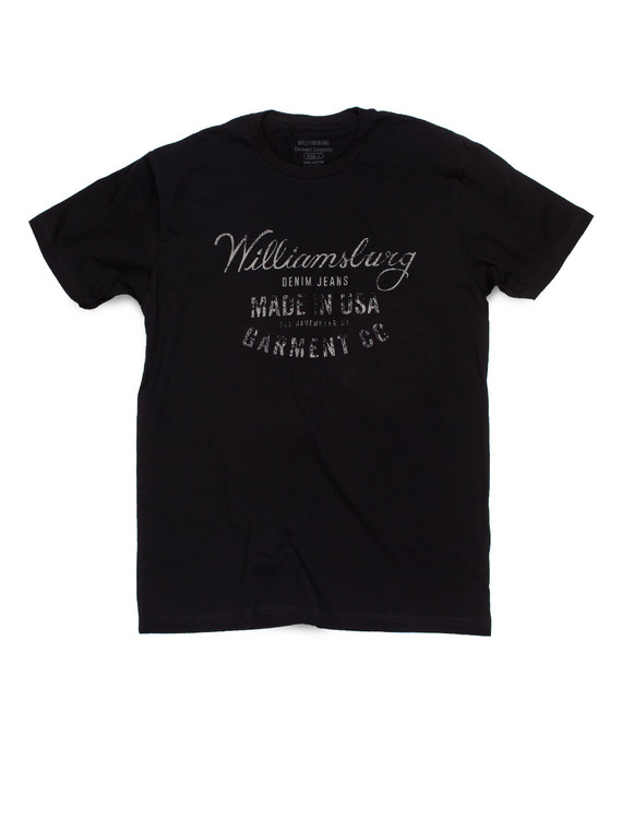 Black Williamsburg USA Logo t-shirt by American made raw denim brand Williamsburg Garment Company.