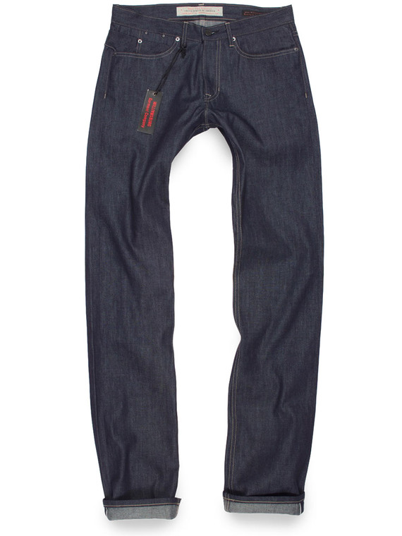 Tall men's 40 inch inseam Light Weight Selvedge raw denim jeans made in USA.
