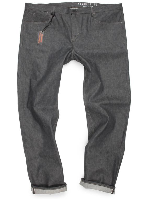 Italian gray selvedge denim jeans for big men made in USA.