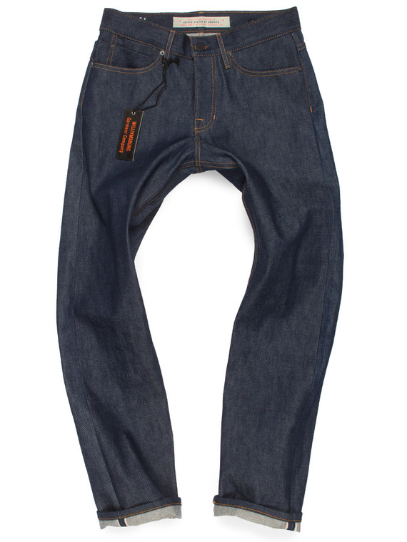 Men's straight leg relaxed fit 14-oz selvedge raw denim American made jeans .