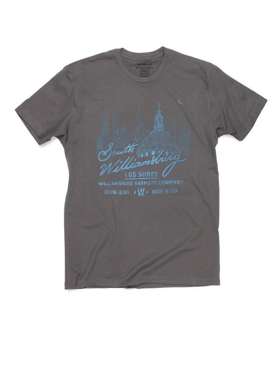 Los Sures - South Williamsburg Gray logo t-shirt by raw denim brand Williamsburg Garment Company American made jeans.