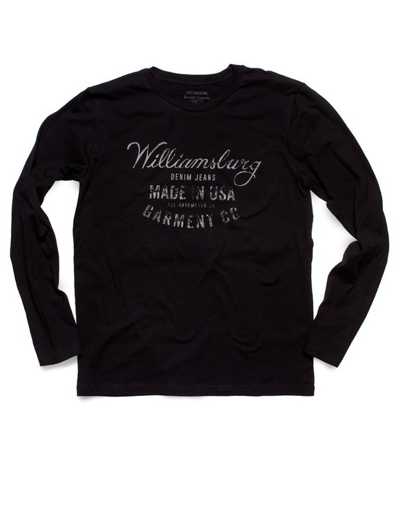 Black long sleeve Williamsburg USA Logo tee by raw denim specialist and American made denim brand Williamsburg Garment Company.