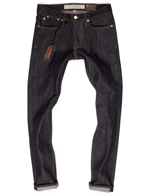 New Hope Street slim tapered raw denim American made jeans, produced in 13-oz. Cone White Oak fabric.