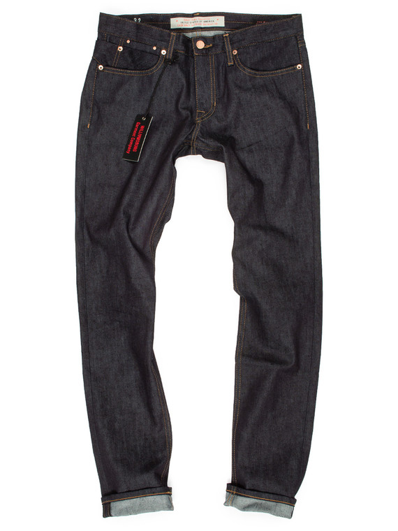 Men's stretch slim tapered raw denim American jeans in the new Hope Street fit
