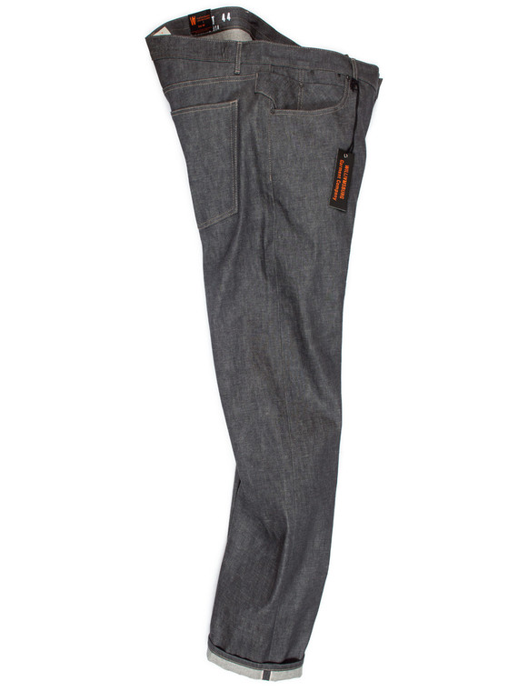 Relaxed straight-leg Italian gray selvedge raw denim jeans made in the USA.