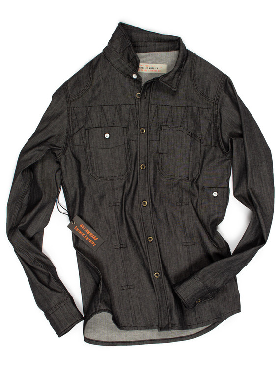 Men's black raw denim shirt made in the USA - Handmade in Brooklyn by designer Maurice Malone in stretch denim fabric made in Italy.