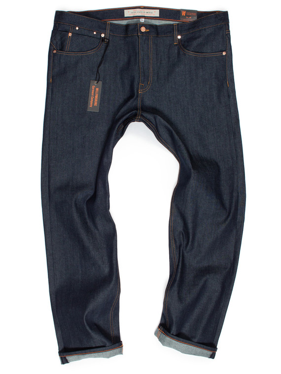 The new Hope Street big men's slim stretch raw denim tapered jeans made in American Cone White Oak denim.