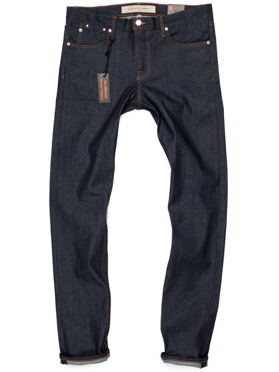 Men's extra long slim tapered stretch raw denim jeans in 38-inch inseam