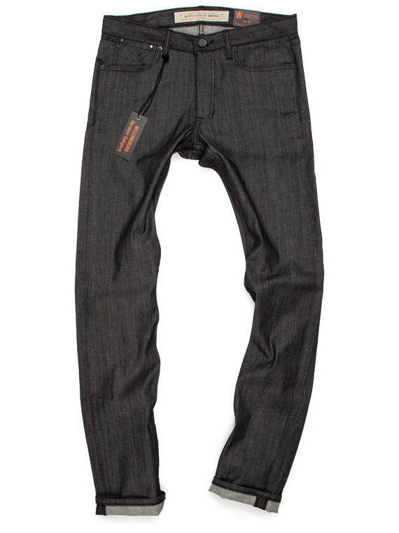 Williamsburg black raw denim skinny jeans handmade by designer Maurice Malone.