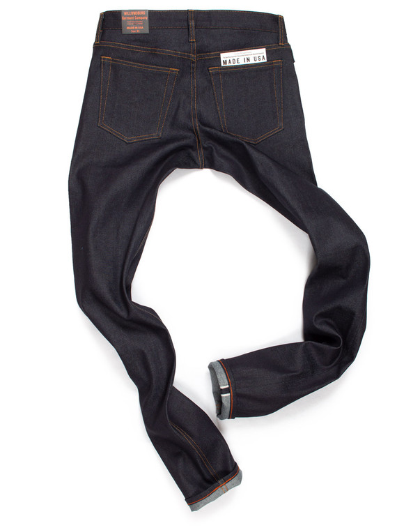Extra long inseam Japanese stretch selvedge jeans with pigskin top stitching.