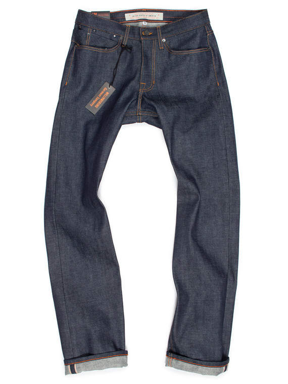 Men's straight-leg custom jeans, American made selvedge raw denim.