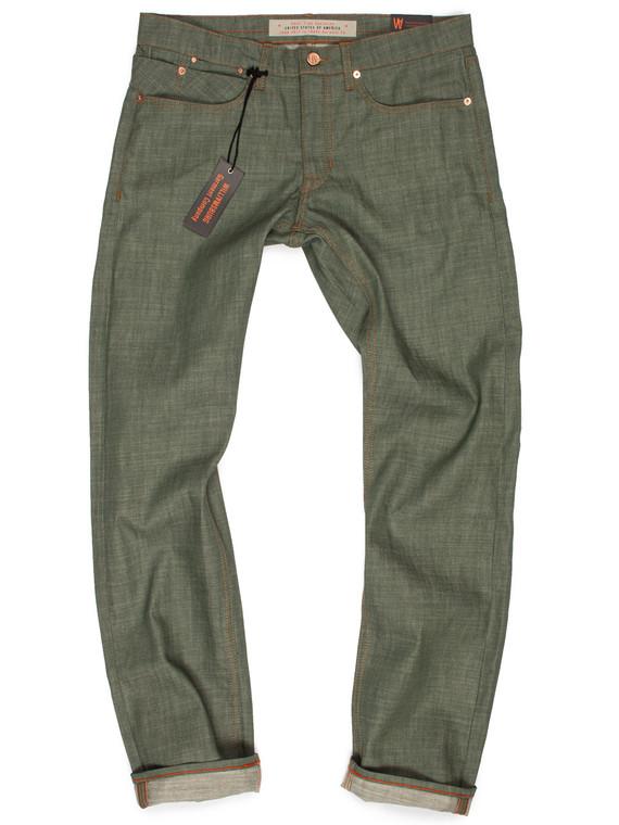 Olive green custom made raw denim jeans produced in American made Cone White Oak denim. Handmade by the designer in Brooklyn, New York.