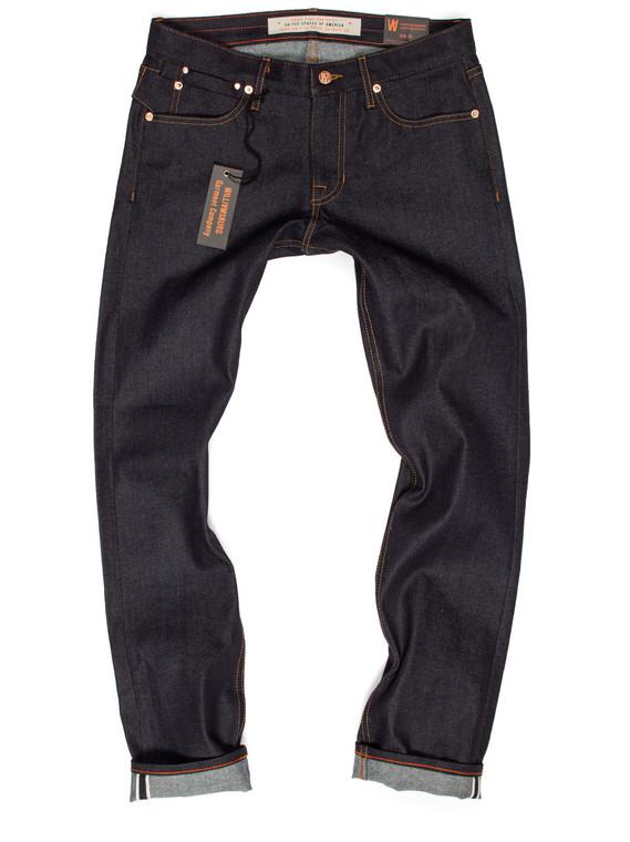 Custom-made selvedge jeans in men's skinny fit.