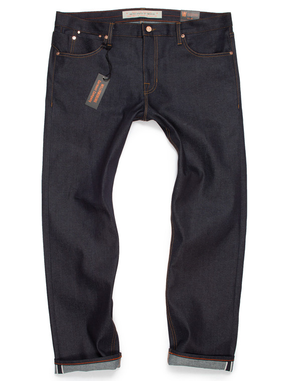 Size 40 big men's slim tapered selvedge custom jeans produced in stretch Japanese denim, made in the USA.