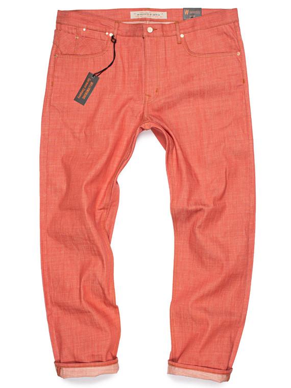 Big men's salmon red slim raw denim jeans custom made in the USA. Produced in Cone Mills White Oak 9-oz. crosshatch denim.