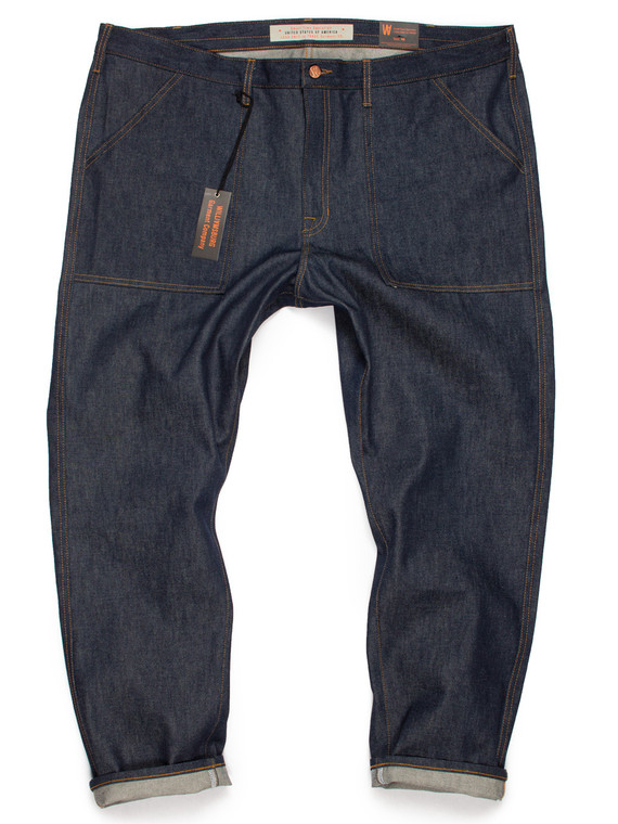 Custom made patch pocket selvedge denim tapered work jeans