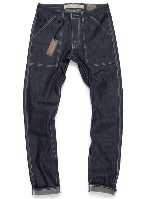 Custom made 3-needle selvedge patch pocket denim work pants, handmade in Brooklyn, USA.