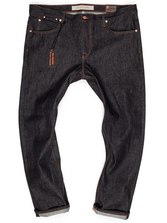 Hope Street raw denim custom made jeans in slim tapered fit for big men. Handmade in Brooklyn, New York and sewn in Cone White Oak denim or American & Japanese twills