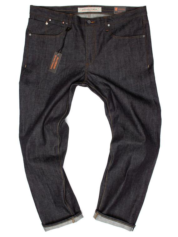 Slim Japanese selvedge size 44 raw denim jeans handmade in Brooklyn, New York.