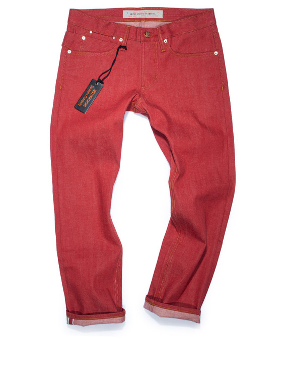Red selvedge jeans, handmade in Brooklyn, USA in Japanese raw denim.