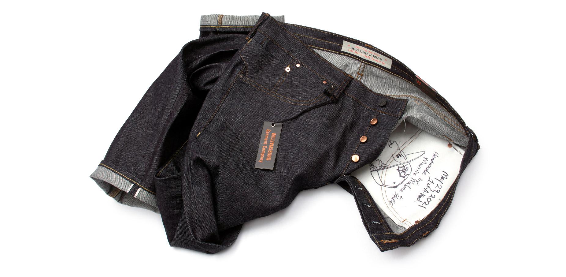 Handmade size 44 Japanese selvedge raw denim jeans made in Brooklyn
