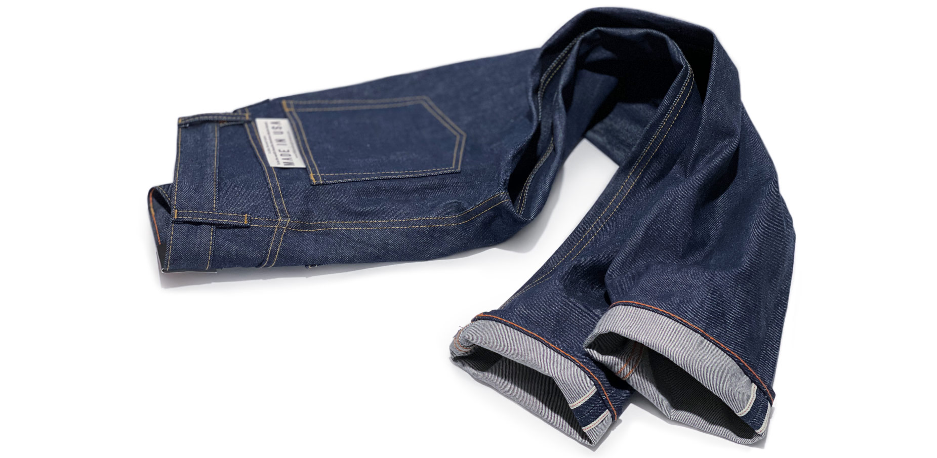Men's American made jeans produced in Cone White Oak selvedge raw denim made in the USA