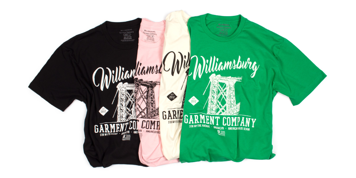T-shirts featuring the Williamsburg Bridge from American made jeans brand Williamsburg Garment Co.