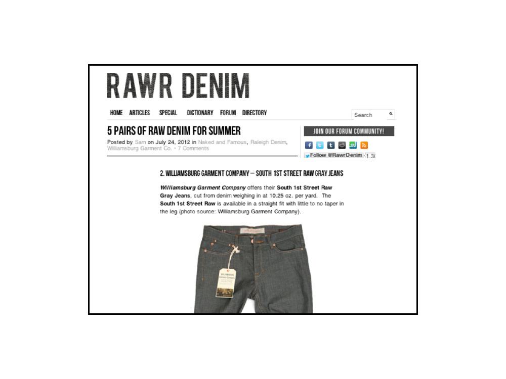 Rawr Denim magazine (Did you mean: raw denim magazine (Heddels.com) 2012 review of Williamsburg Garment Co. jeans
