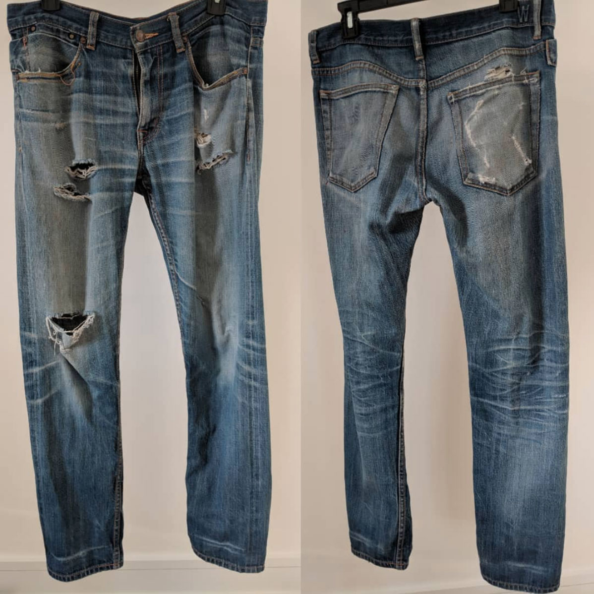 5-year-old naturally aged raw denim jeans by Williamsburg Garment Co.