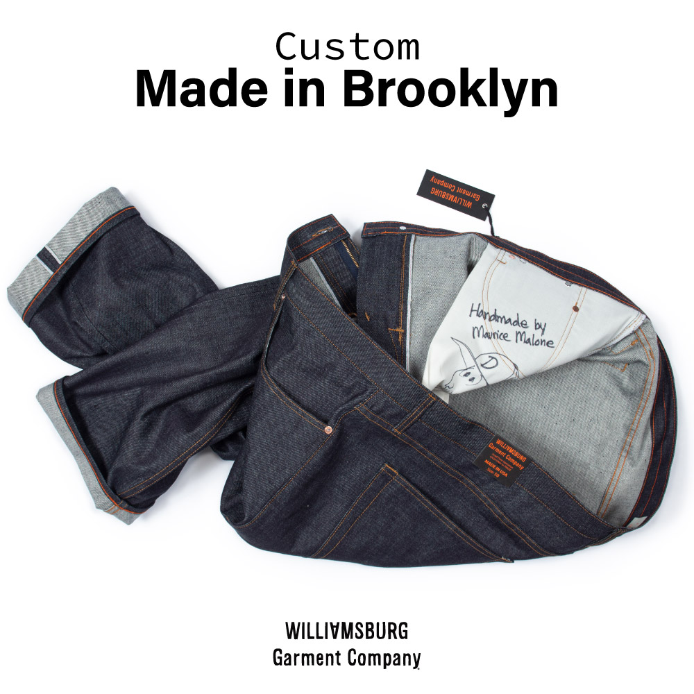 Custom made in Brooklyn selvedge raw denim custom made jeans size 50x25.