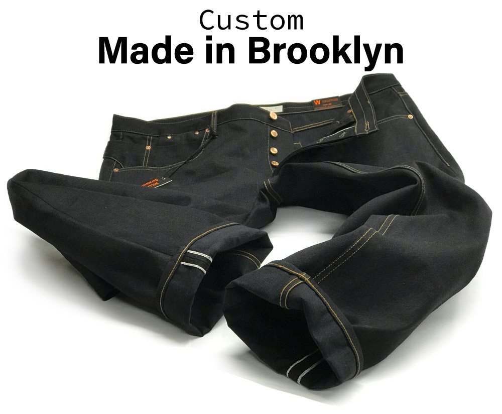Big men's size 46 custom made jean in 15oz. black Japanese selvedges