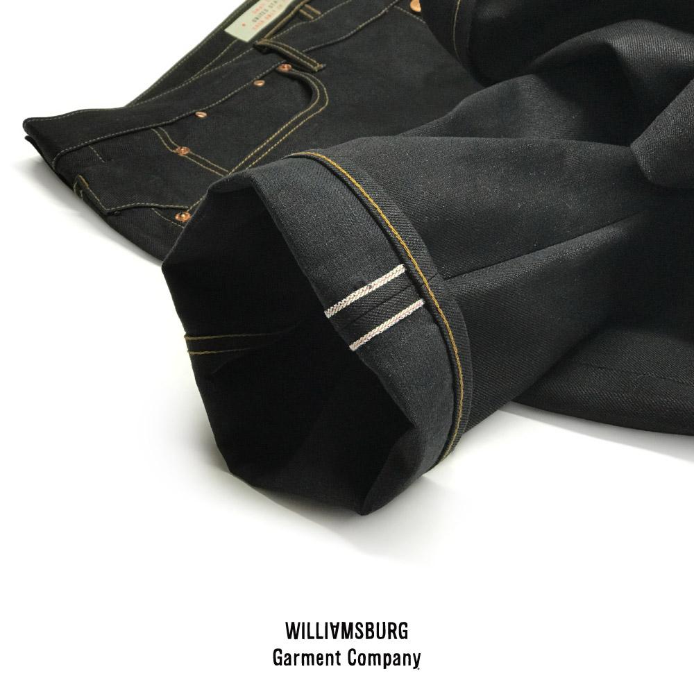 Close-up detail of black Nihon Menpu Japanese selvedge on Williamsburg custom jeans