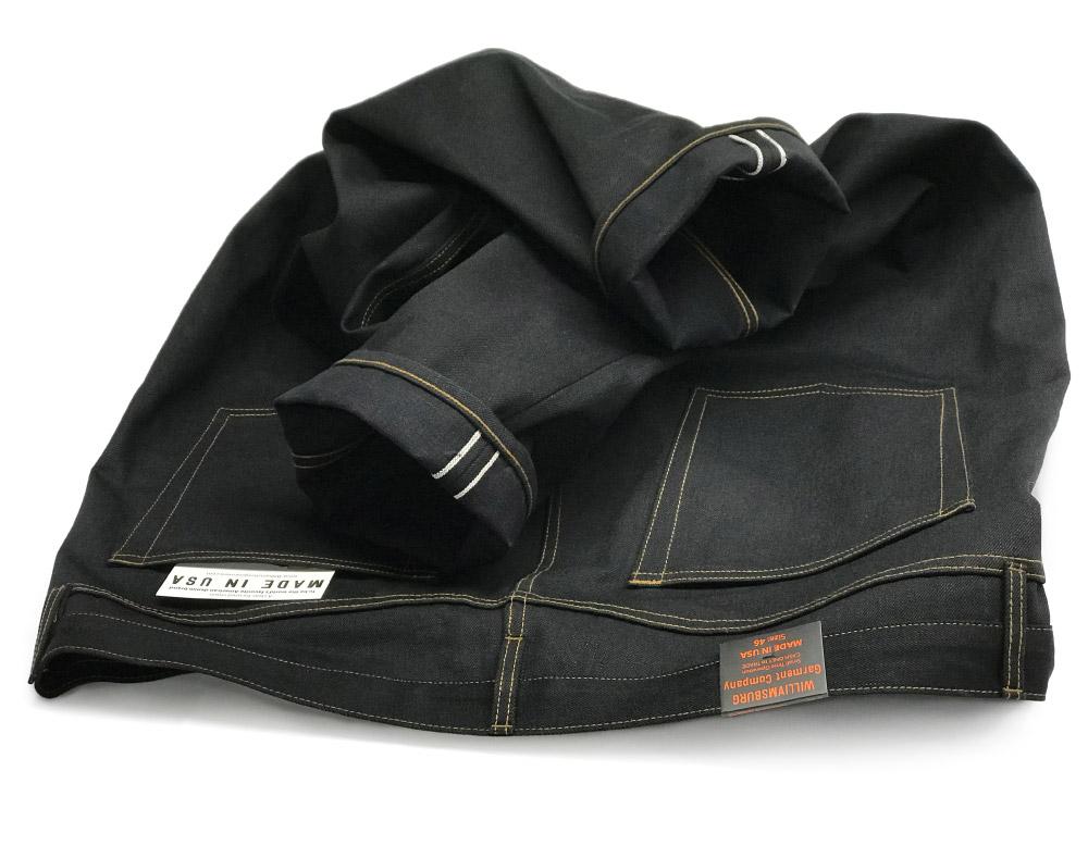 Rear view of size 46 custom made jeans in black Nihon Menpu 15 oz. denim