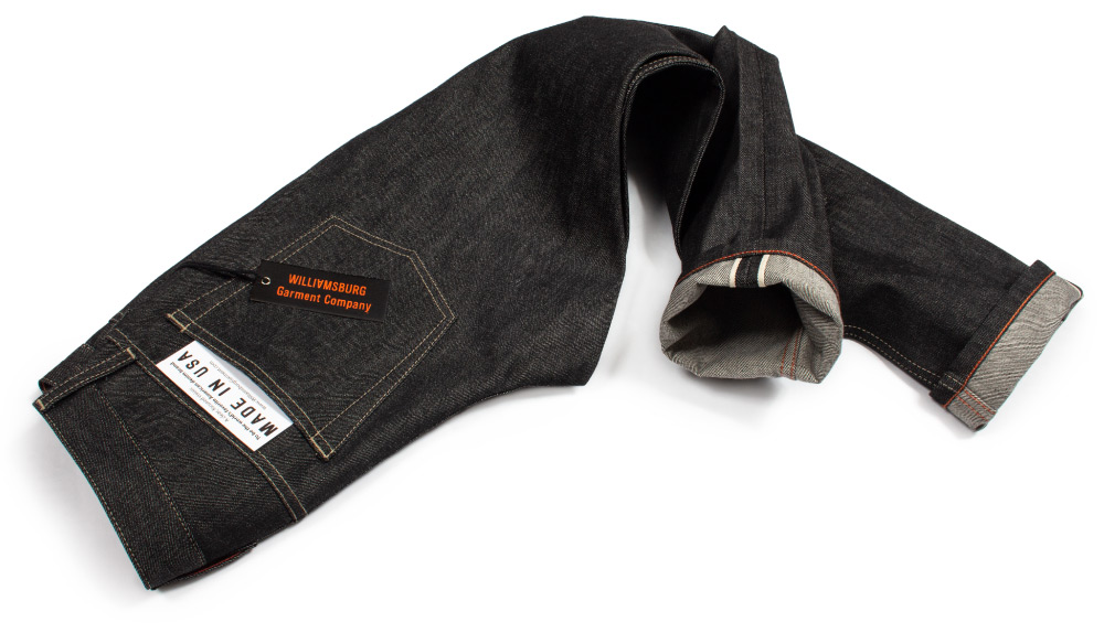 American made black selvedge raw denim jeans by Williamsburg Garment Co.