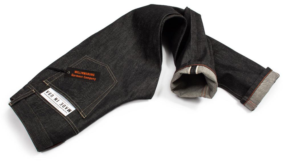 American made black selvedge raw denim jeans by Williamsburg Garment Co.