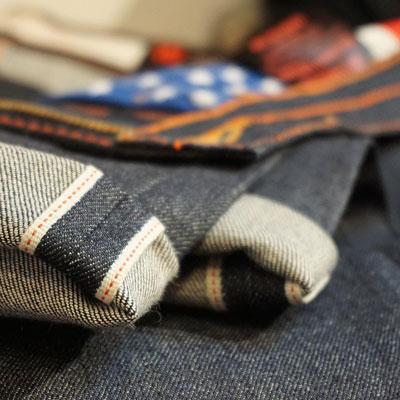 @blokeapparelandsupply raw selvedge denim jeans display