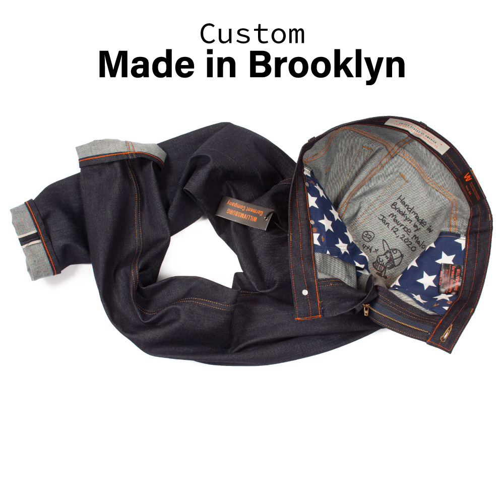 Handmade Japanese selvedge jeans made in Brooklyn by designer Maurice Malone for Williamsburg Garment Co.